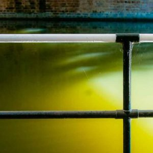 water canal railings yellow light effects