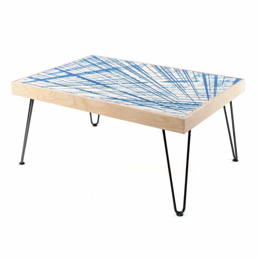 printed pattern coffee table with hairpin legs