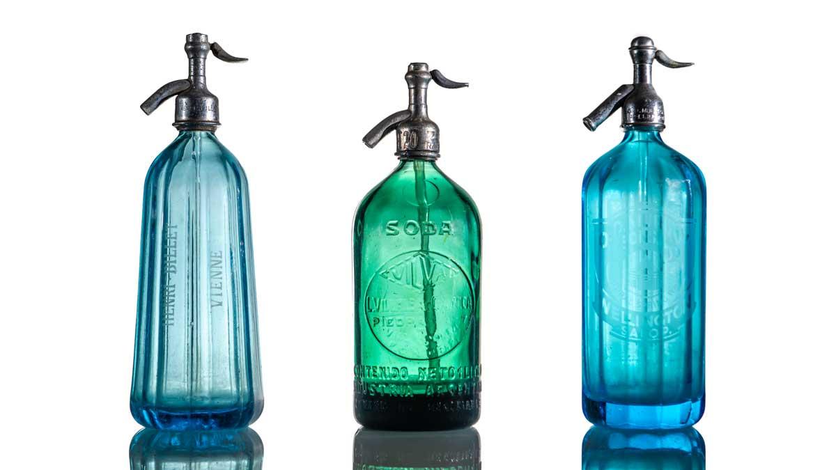 colourful old soda fountain bottles