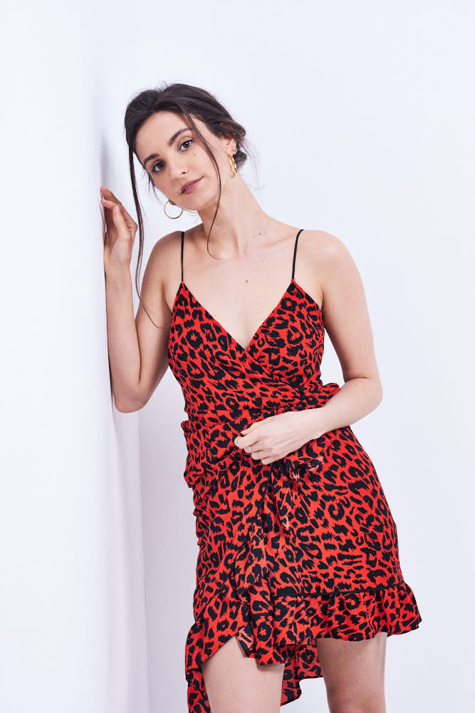 woman in red dress fashion ecommerce photography